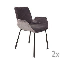 Sada 2 tmavě šedých židlí s područkami Zuiver Brit