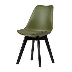 Sada 2 tmavě zelených židlí s nohami z borovicového dřeva De Eekhoorn Stan