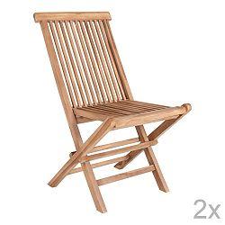 Sada 2 venkovních jídelních židlí z teakového dřeva House Nordic Toledo