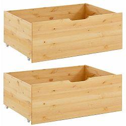 Sada 2 zásuvek pod postel z masivního borovicového dřeva Støraa Barney
