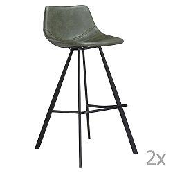 Sada 2 zelených barových židlí s černým kovovým podnožím DAN– FORM Pitch
