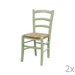 Sada 2 zelených jídelních židlí z masivního dřeva Evergreen House Straw