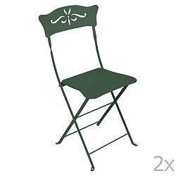 Sada 2 zelených kovových skládacích zahradních židlí Fermob Bagatelle