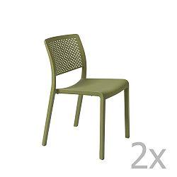 Sada 2 zelených zahradních židlí Resol Trama Simple