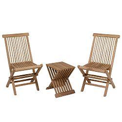 Sada 2 židlí a stolu z teakového dřeva Santiago Pons Taar