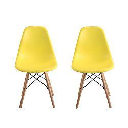Sada 2 žlutých židlí s nohami z bukového dřeva Clio