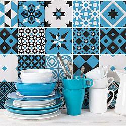 Sada 24 nástěnných samolepek Ambiance Wall Decal Cement Tiles Azulejos Ranjita, 10 x 10 cm