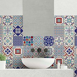 Sada 24 samolepek na stěnu Ambiance Azulejos Sofiana Blue, 15x15cm