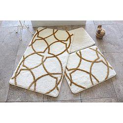 Sada 3 bílo-zlatých předložek do koupelny Alessia Bonita