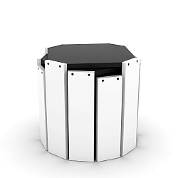 Sada 3 bílých stohovatelných odkládacích stolků s černým detailem Rafevi Hansel