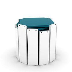 Sada 3 bílých stohovatelných odkládacích stolků s modrým detailem Rafevi Hansel