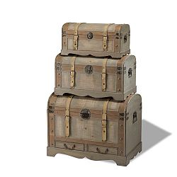 Sada 3 dřevěných dekorativních truhlic Knuds Trunks Countryside