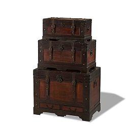 Sada 3 dřevěných dekorativních truhlic Knuds Trunks Medieval