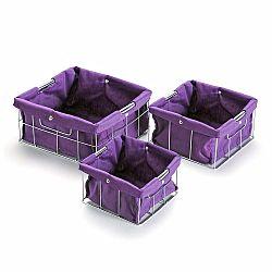Sada 3 fialových úložných košíků Versa Cestas