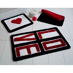 Sada 3 koupelnových předložek Alessia Love Red