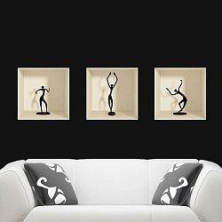 Sada 3 samolepek s 3D efektem Ambiance Dancing Figures
