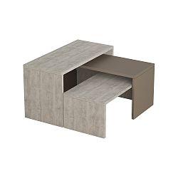 Sada 3 šedých konferenčních stolků Homitis Puzzle