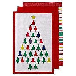 Sada 3 utěrek s vánočním motivem Ladelle Bright Christmas Tree, 70x45cm