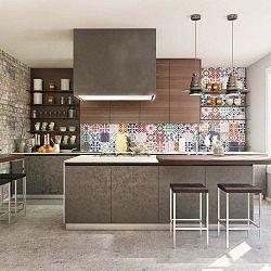 Sada 30 nástěnných samolepek Ambiance Wall Stickers Cement Tiles Azulejos Vinito, 10 x 10 cm