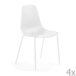 Sada 4 bílých jídelních židlí La Forma Wassu