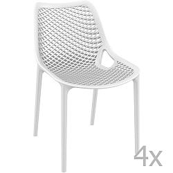 Sada 4 bílých zahradních židlí Resol Grid Simple