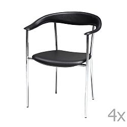 Sada 4 černých jídelních židlí Knuds Katja