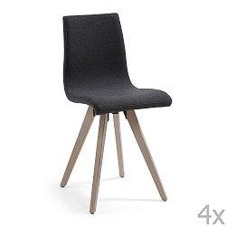 Sada 4 černých jídelních židlí La Forma Una