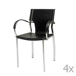 Sada 4 černých jídelních židlí s područkami Knuds Jacob