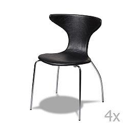 Sada 4 černých židlí Knuds Suki