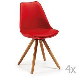 Sada 4 červených jídelních židlí s dřevěným podnožím La Forma Lars