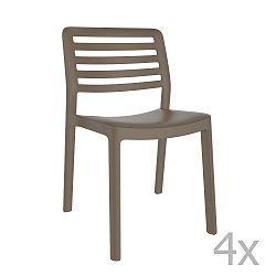 Sada 4 čokoládově hnědých zahradních židlí Resol Wind