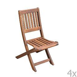 Sada 4 dětských zahradních skládacích židlí z akáciového dřeva ADDU Idaho