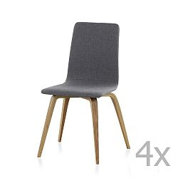 Sada 4 dřevěných polstrovaných jídelních židlí Geese
