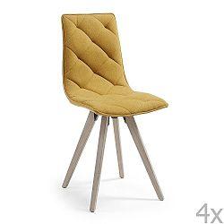 Sada 4 hořčicově žlutých jídelních židlí La Forma Tuk