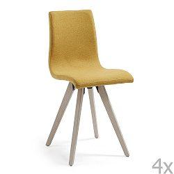 Sada 4 hořčicově žlutých jídelních židlí La Forma Una