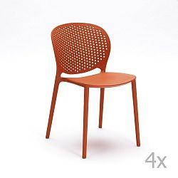 Sada 4 oranžových židlí Design Twist Gavle