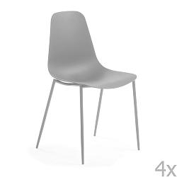 Sada 4 šedých jídelních židlí La Forma Wassu
