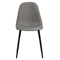 Sada 4 šedých jídelních židlí s modrým prošíváním Marckeric Tempo