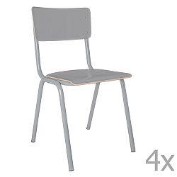 Sada 4 šedých židlí Zuiver Back to School