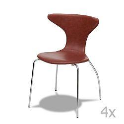 Sada 4 světle hnědých židlí Knuds Suki