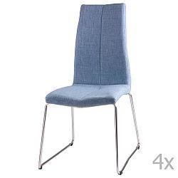 Sada 4 světle modrých  jídelních židlí sømcasa Aora
