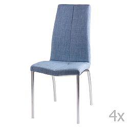 Sada 4 světle modrých jídelních židlí sømcasa Carla
