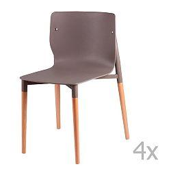Sada 4 světle šedých  jídelních židlí s dřevěnými nohami sømcasa Alisia