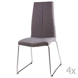 Sada 4 světle šedých jídelních židlí sømcasa Aora