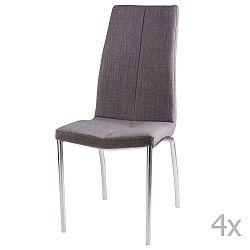Sada 4 světle šedých jídelních židlí sømcasa Carla