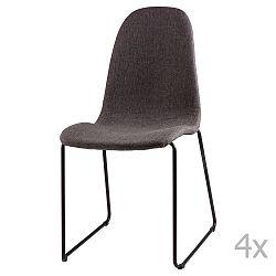 Sada 4 tmavě šedých  jídelních židlí sømcasa Helena
