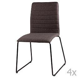 Sada 4 tmavě šedých jídelních židlí sømcasa Vera