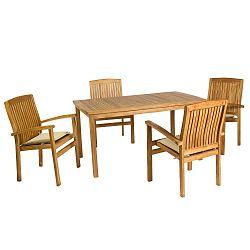 Sada 4 židlí a stolu z teakového dřeva Santiago Pons