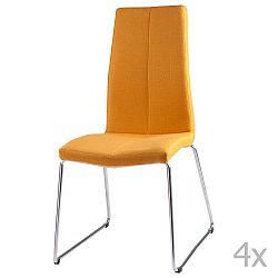 Sada 4 žlutých  jídelních židlí sømcasa Aora