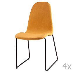 Sada 4 žlutých  jídelních židlí sømcasa Helena